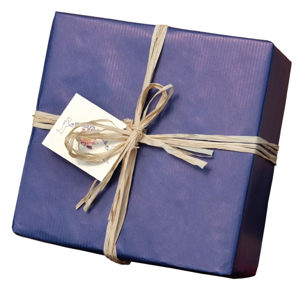Gift wrapping service Blue Kraft paper with Raffia ribbon